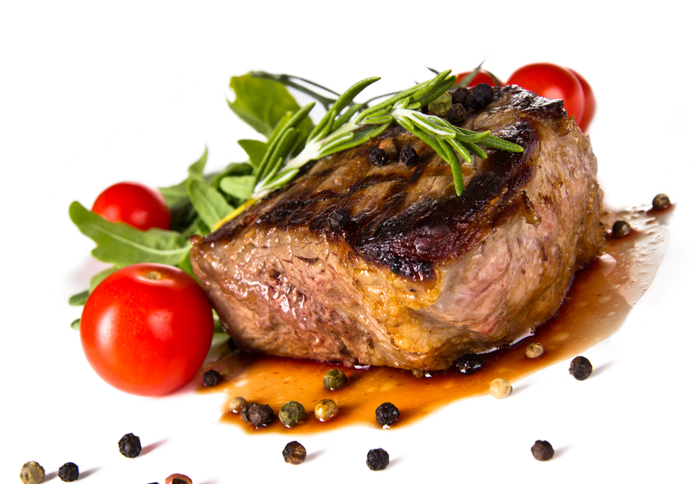 fancy steak with tomatoes and capers