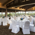 Wedding reception overlooking Ford lake and golf course