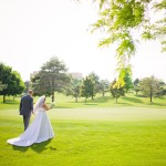 Bride and groom on Eagle Crest Resort golf course