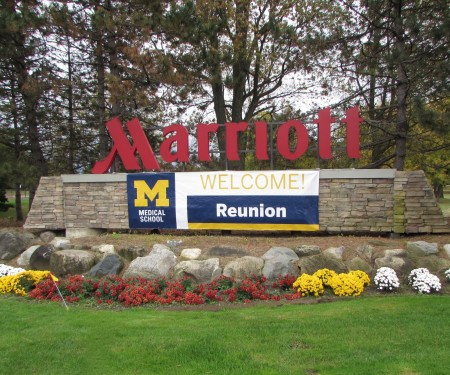 Marriott Hotel signage at the entrance of the resort