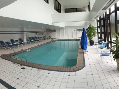 Spacious indoor pool with a large section of windows to look outside