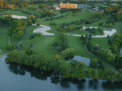 Panoramic view of the Eagle Crest golf course melded softly together with the lakes' glistening water