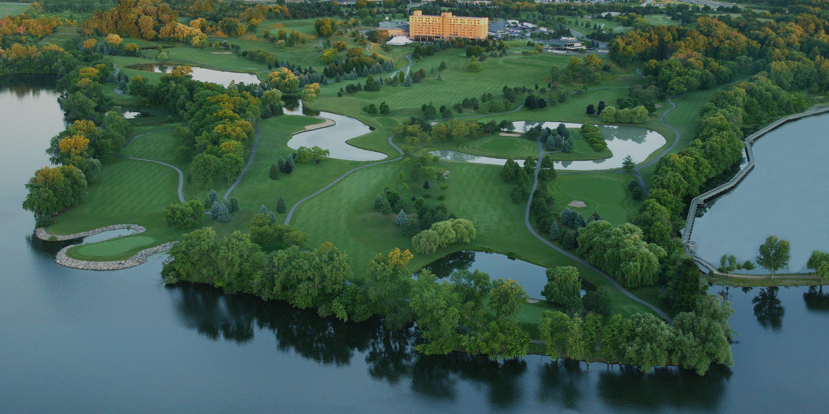 Panoramic View Of The Eagle Crest Golf Course Melded Softly Together With Lakes Glistening