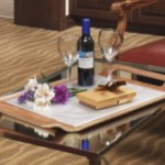 Picture of tray with wine and chocolate