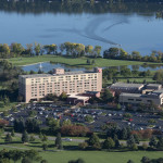 Aerial view of the vast Eagle Crest conference center and the Marriott