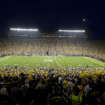 Night football game at Michigan Stadium.