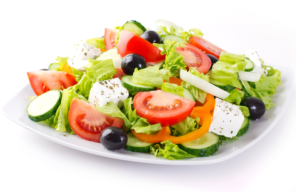Picture of salad on a white background